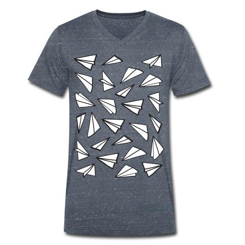Vliegtuigjes mannen v-hals bio - Mannen bio T-shirt met V-hals van Stanley & Stella