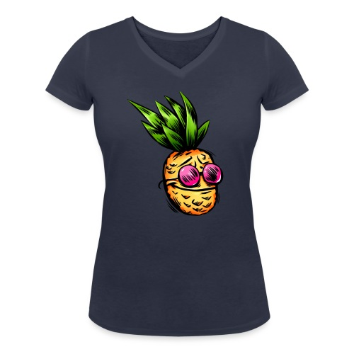 Lustige Ananas Frucht - Frauen Bio-T-Shirt mit V-Ausschnitt von Stanley & Stella