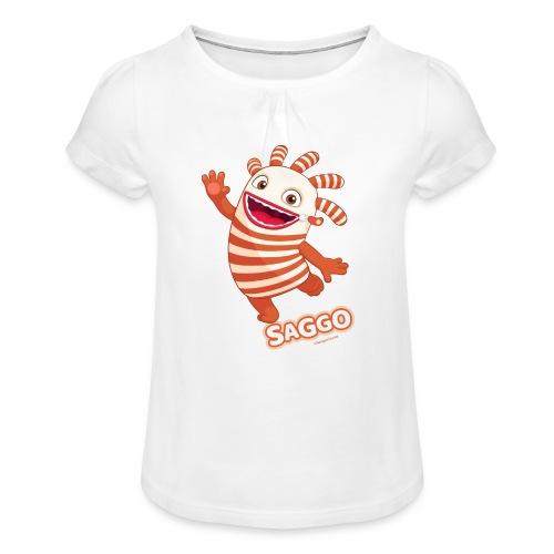 Sorgenfresser Saggo Tanzt Fröhlich - Mädchen-T-Shirt mit Raffungen