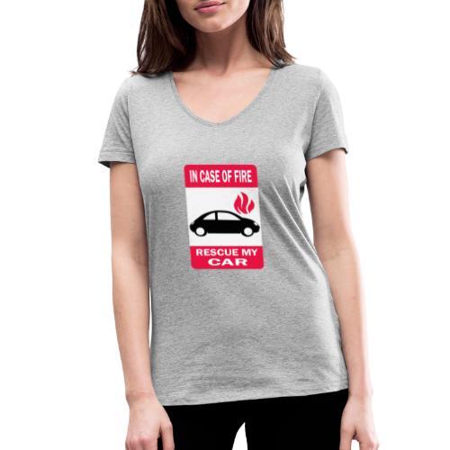 In case of fire, rescue my car - T-shirt bio col V Stanley & Stella Femme