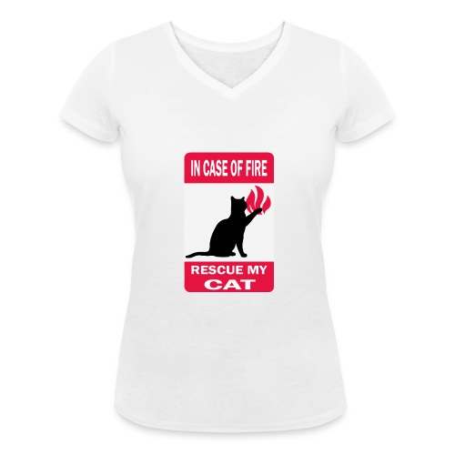 In case of fire, rescue my cat - T-shirt bio col V Stanley & Stella Femme
