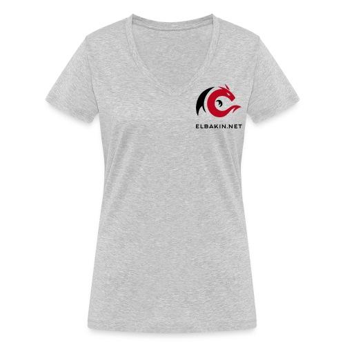 T-shirt femme blanc manches courtes double logo bicolore - T-shirt bio col V Stanley & Stella Femme