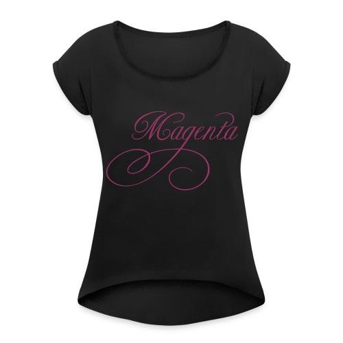 ZVETA Magenta glitzer - Frauen T-Shirt mit gerollten Ärmeln