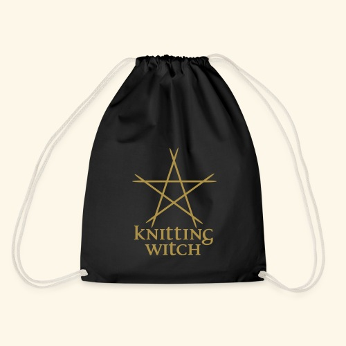 Projektbeutel Knitting Witch Goldglitter - Turnbeutel