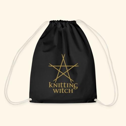 Projektbeutel Knitting Witch Goldglitter - Turnbeutel