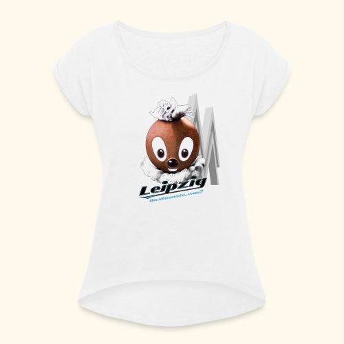 Frauen T-Shirt mit gerollten Ärmeln Pittiplatsch Leipzig hell - Frauen T-Shirt mit gerollten Ärmeln