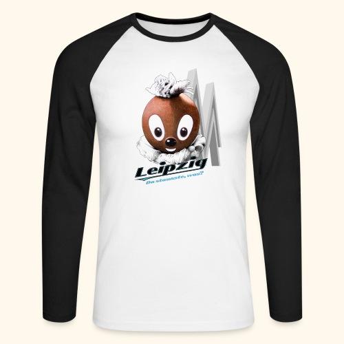 Männer Baseballshirt langarm Pittiplatsch Leipzig hell - Männer Baseballshirt langarm
