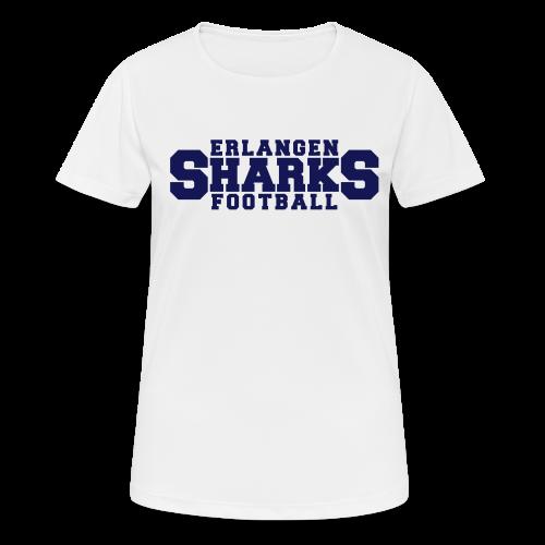 Funktionsshirt (w, weiß/navy) - Frauen T-Shirt atmungsaktiv