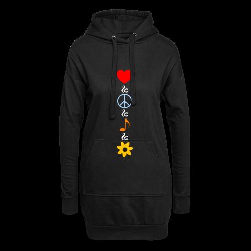 Hoodie-Kleid - Liebe, Frieden, Musik und Blumen - das alles verbindet man vor allen Dingen mit der Hippie Generation. Der stylische farbenfrohe Sommer Look, auch für Nicht-Hippies.