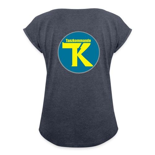 T-Shirt - Logo auf Rücken - Frauen T-Shirt mit gerollten Ärmeln