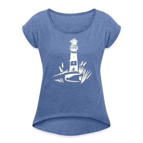 Leuchturm klassisch - Frauen T-Shirt mit gerollten Ärmeln