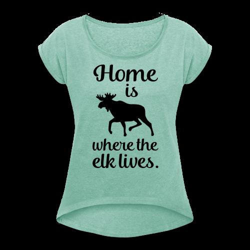 Frauen T-Shirt mit gerollten Ärmeln - Skandinavien Fan Design für Shirts und Accessoires als Geschenk o. zum Selberkaufen für alle, die Elche und Skandinavien lieben. Perfekt für den nächsten Urlaub in Norwegen, Schweden oder Finnland.
