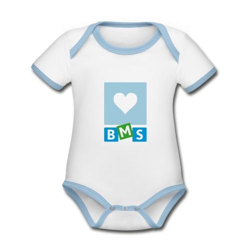 LOVE BMS romper jongen - Baby contrasterend bio-rompertje met korte mouwen