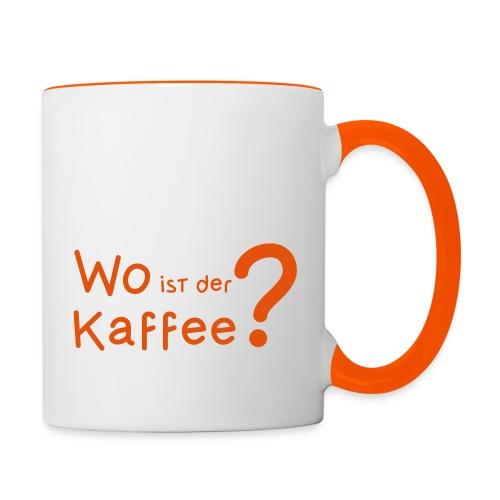 Wo ist der Kaffee? - Tasse zweifarbig