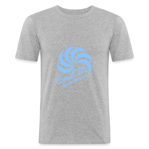 men slim fit top short sleeve- blue logo - Men's Slim Fit T-Shirt