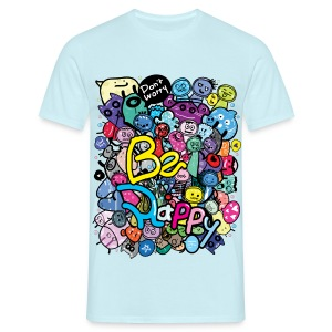 Be Happy doodle monster Men's T-Shirt - Men's T-Shirt