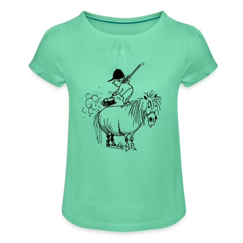 Pony Spring-cleaning - Mädchen-T-Shirt mit Raffungen