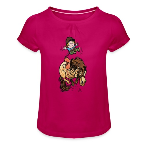 Pony Trampolin - Mädchen-T-Shirt mit Raffungen