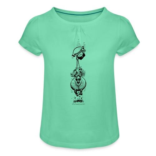 Pony Kopfüber - Mädchen-T-Shirt mit Raffungen