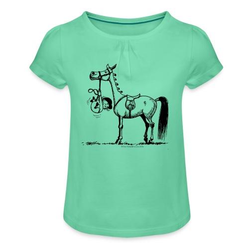Stures Pony - Mädchen-T-Shirt mit Raffungen