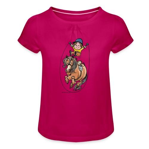 Pony Springseil - Mädchen-T-Shirt mit Raffungen