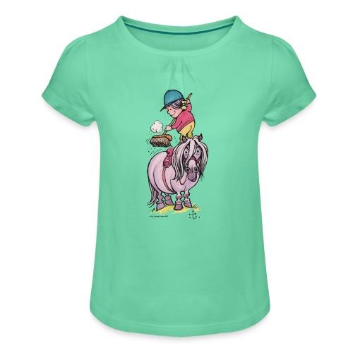 Pony Saubermachen - Mädchen-T-Shirt mit Raffungen