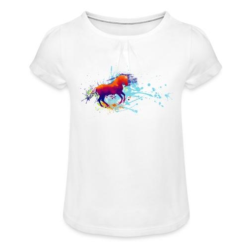 Galopp bunt - Shirt Mädchen - Mädchen-T-Shirt mit Raffungen