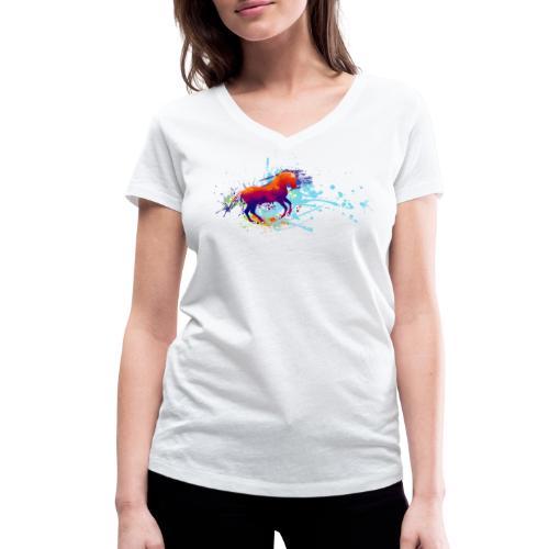 Galopp bunt - Shirt V - Frauen Bio-T-Shirt mit V-Ausschnitt von Stanley & Stella