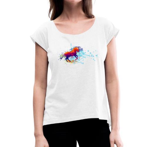 Galopp bunt - Shirt locker - Frauen T-Shirt mit gerollten Ärmeln