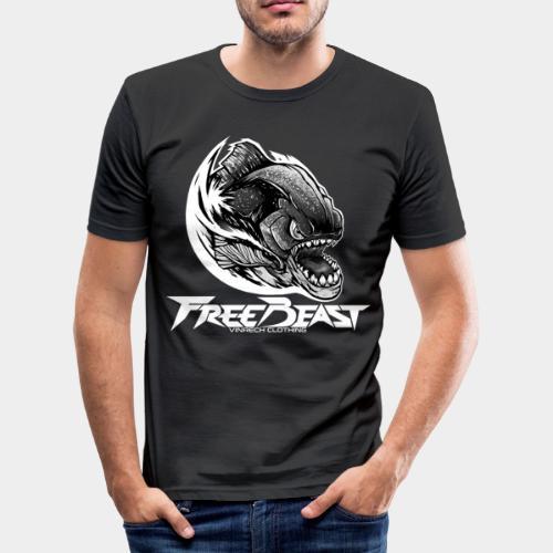 VINRECH CLOTHING - FREEBEAST - PIRANHA SILVER - T-Shirt Homme - T-shirt près du corps Homme