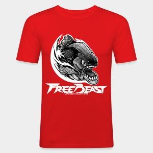 VINRECH CLOTHING - FREEBEAST - PIRANHA SILVER - T-Shirt rouge Homme - Tee shirt près du corps Homme