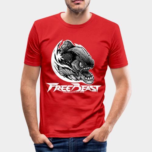 VINRECH CLOTHING - FREEBEAST - PIRANHA SILVER - T-Shirt rouge Homme - T-shirt près du corps Homme