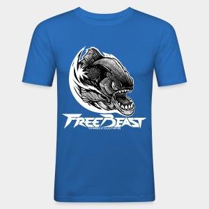 VINRECH CLOTHING - FREEBEAST - PIRANHA SILVER - T-Shirt bleu Homme - Tee shirt près du corps Homme