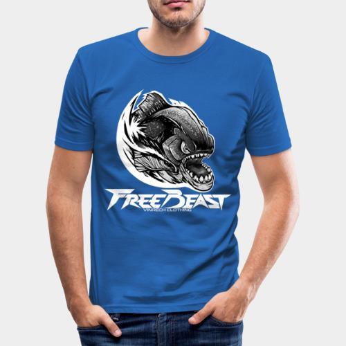 VINRECH CLOTHING - FREEBEAST - PIRANHA SILVER - T-Shirt bleu Homme - T-shirt près du corps Homme
