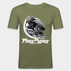 VINRECH CLOTHING - FREEBEAST - PIRANHA SILVER - T-Shirt kaki Homme - Tee shirt près du corps Homme