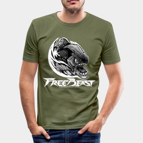 VINRECH CLOTHING - FREEBEAST - PIRANHA SILVER - T-Shirt kaki Homme - T-shirt près du corps Homme