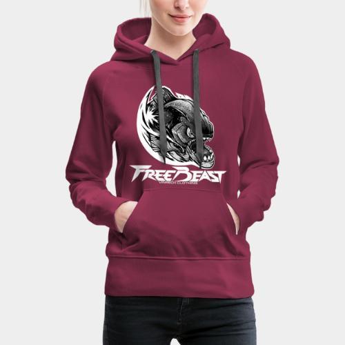 VINRECH CLOTHING - FREEBEAST - PIRANHA SILVER - Sweat-shirt bordeaux Femme - Sweat-shirt à capuche Premium pour femmes