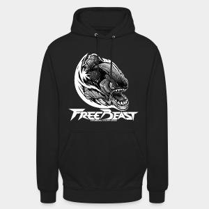 VINRECH CLOTHING - FREEBEAST - PIRANHA SILVER - Sweat-shirt noir Homme - Sweat-shirt à capuche unisexe