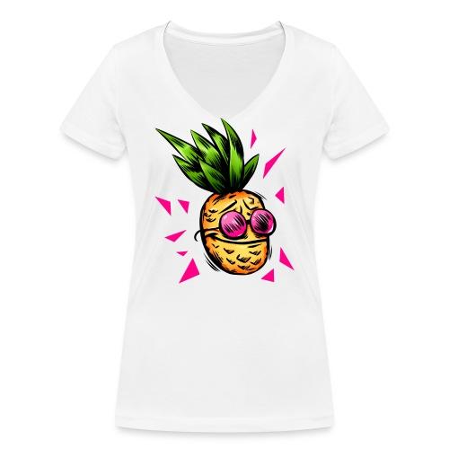 Lustige Ananas Cartoon Splash - Frauen Bio-T-Shirt mit V-Ausschnitt von Stanley & Stella