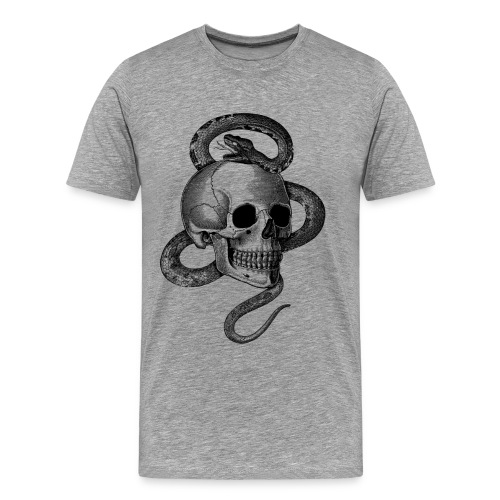 Skull with snake (Black&White) - Men's Premium T-Shirt
