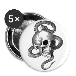 Skull with snake (Black&White) - Buttons large 56 mm