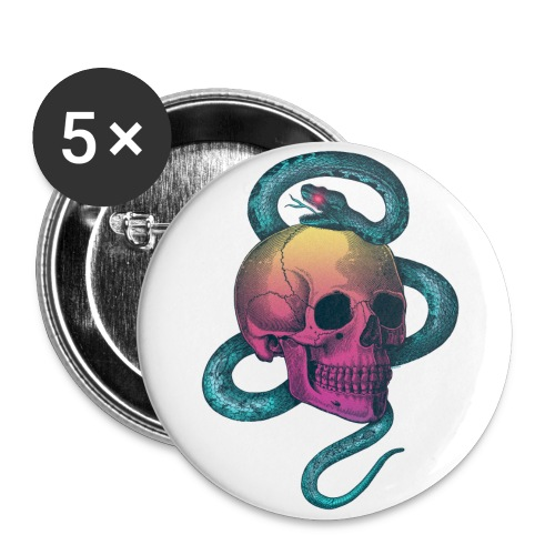 Skull&Snake (rainbow version) - Buttons large 2.2''/56 mm(5-pack)