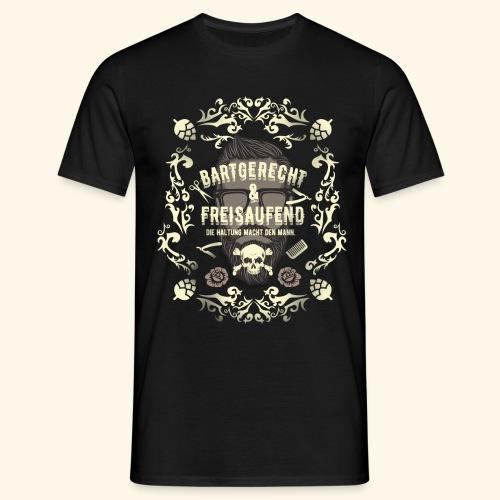 Lustiges Vintage Style Shirt Bartgerecht & freisaufend - Männer T-Shirt