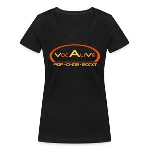 Frauen Bio T-Shirt mit V-Ausschnitt Schwarz - Frauen Bio-T-Shirt mit V-Ausschnitt von Stanley & Stella