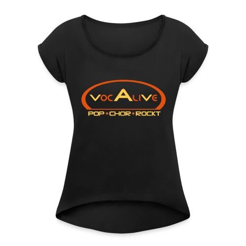 Frauen T-Shirt mit gerollten Ärmeln Schwarz - Frauen T-Shirt mit gerollten Ärmeln