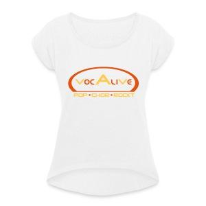 Frauen T-Shirt mit gerollten Ärmeln Weiß - Frauen T-Shirt mit gerollten Ärmeln