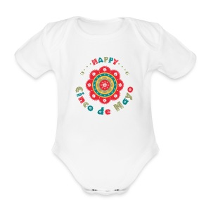 Cinco the Mayo Colorful Flower Party Outfit Baby - Organic Short-sleeved Baby Bodysuit