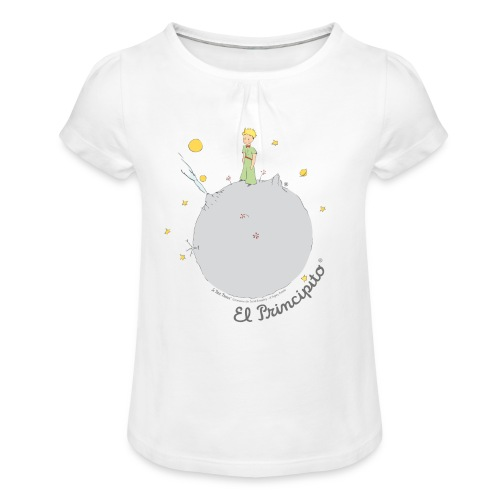 Kleiner Prinz Buchcover - Mädchen-T-Shirt mit Raffungen