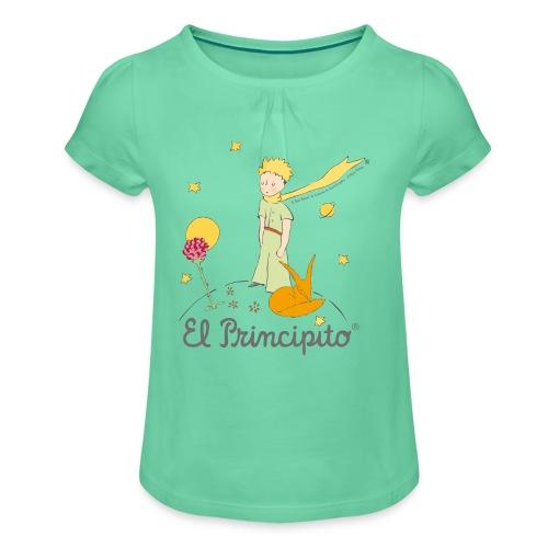 Der kleine Prinz mit Fuchs und Rose - Mädchen-T-Shirt mit Raffungen