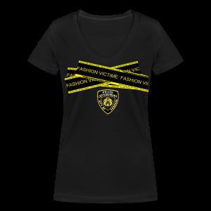 T-shirt Femme Police Line Fashion Victim - T-shirt bio col V Stanley & Stella Femme